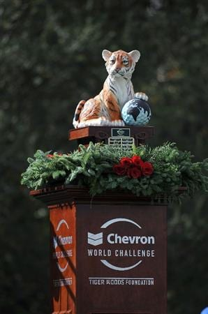 THOUSAND OAKS, CA - DECEMBER 06:  Trophy on display on the first hole during the fourth round of the Chevron World Challenge at Sherwood Country Club on December 6, 2009 in Thousand Oaks, California.  (Photo by Harry How/Getty Images)
