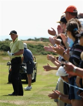 TROON, UNITED KINGDOM - JULY 24:  Greg Norman of Australia looks on during the first round of the Senior Open Championships at Royal Troon on July 24,2008 in Troon,Scotland.  (Photo by Ross Kinnaird/Getty Images)