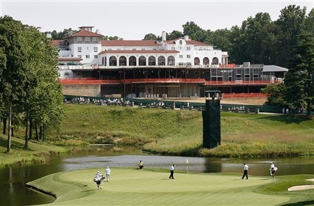 BETHESDA, MD - JULY 3: A scenic view of the 18th hole showing the Congressional Country Club clubhouse construction during the first round of the AT&T National at Congressional Country Club on July 3, 2008 in Bethesda, Maryland. (Photo by Hunter Martin/Getty Images)