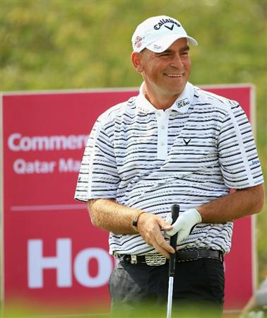 DOHA, QATAR - FEBRUARY 06:  Thomas Bjorn of Denmark smiles after hitting his tee-shot on the eighth hole during the final round of the Commercialbank Qatar Masters held at Doha Golf Club on February 6, 2011 in Doha, Qatar.  (Photo by Andrew Redington/Getty Images)