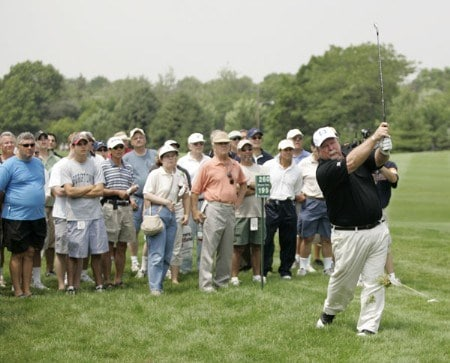 Craig Stadler on the 18th hole during the first round of the Commerce Bank Championship being held at the Eisenhower Park Red Course in East Meadow, New York on Friday July 1, 2005.Photo by Mike Ehrmann/WireImage.com