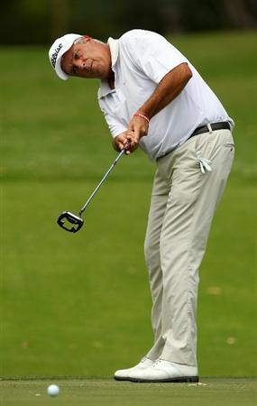 PERTH, AUSTRALIA - NOVEMBER 19:  Marc Farry of France watches his putt on the 4th hole during day one the 2010 Australian Senior Open at Royal Perth Golf Club on November 19, 2010 in Perth, Australia.  (Photo by Paul Kane/Getty Images)