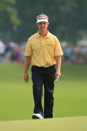 FORT WORTH, TX - MAY 22: David Toms walks to his ball on the 18th green during the Crowne Plaza Invitational at Colonial Country Club on May 22, 2011 in Fort Worth, Texas. (Photo by Hunter Martin/Getty Images)