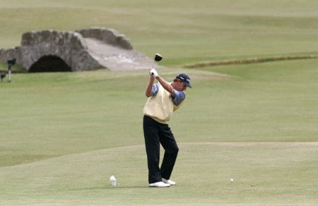 Nick Price plays his tee shot on the 18th hole during the second round of the 2005 British Open Golf Championship at the Royal and Ancient Golf Club in St. Andrews, Scotland on July 15, 2005Photo by Pete Fontaine/WireImage.com