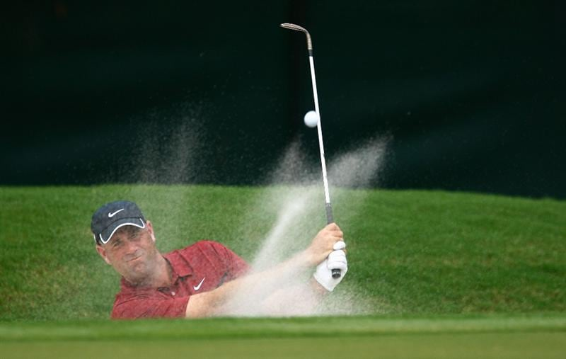 ATLANTA - SEPTEMBER 25:  Stewart Cink plays a bunker shot on the second hole during the second round of THE TOUR Championship presented by Coca-Cola, the final event of the PGA TOUR Playoffs for the FedEx Cup, at East Lake Golf Club on September 25, 2009 in Atlanta, Georgia.  (Photo by Scott Halleran/Getty Images)