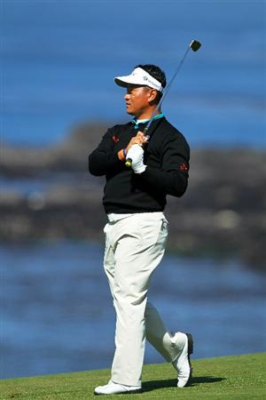 PEBBLE BEACH, CA - JUNE 17:  K.J. Choi of South Korea watches his approach shot on the ninth hole during the first round of the 110th U.S. Open at Pebble Beach Golf Links on June 17, 2010 in Pebble Beach, California.  (Photo by Donald Miralle/Getty Images)