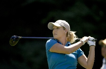 PORTLAND, OR - AUGUST 23: Cristie Kerr hits her tee shot at the 18th hole, during the second round of the LPGA Safeway Classic at the Columbia Edgewater Country Club on August 23, 2008 in Portland, Oregon. (Photo by Steven Gibbons/Getty Images)