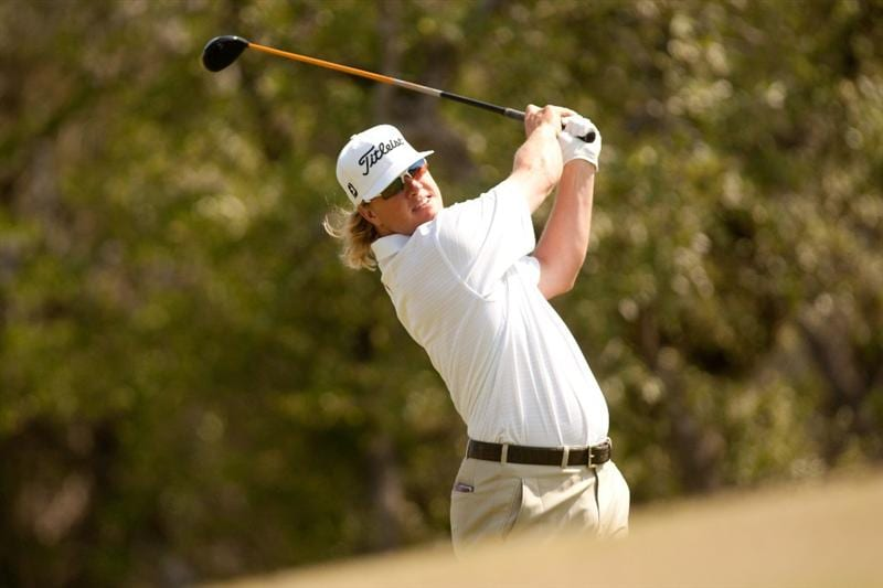 SAN ANTONIO, TX - APRIL 17: Charley Hoffman follows through on a tee shot during the final round of the Valero Texas Open at the AT&T Oaks Course at TPC San Antonio on April 17, 2011 in San Antonio, Texas. (Photo by Darren Carroll/Getty Images)