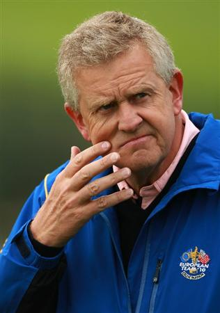 NEWPORT, WALES - SEPTEMBER 30:  Europe Team Captain Colin Montgomerie looks on during a practice round prior to the 2010 Ryder Cup at the Celtic Manor Resort on September 30, 2010 in Newport, Wales.  (Photo by Andrew Redington/Getty Images)