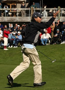 PEBBLE BEACH, CA - FEBRUARY 07:  Actor Ray Romano reacts after making a putt on the 18th hole during the first round of the AT&T Pebble Beach National Pro-Am at Poppy Hills Golf Course February 7, 2008  in Pebble Beach, California.  (Photo by Stephen Dunn/Getty Images)