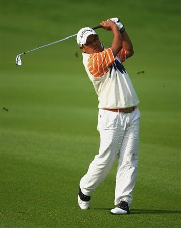 SHANGHAI, CHINA - NOVEMBER 09:  Prayad Marksaeng of Thailand plays his third shot on the eighth hole during the third round of the HSBC Champions at Sheshan Golf Club on November 9, 2008 in Shanghai, China.  (Photo by Andrew Redington/Getty Images)