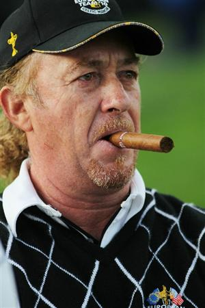 NEWPORT, WALES - OCTOBER 03:  Miguel Angel Jimenez of Europe looks on during the  Fourball & Foursome Matches during the 2010 Ryder Cup at the Celtic Manor Resort on October 3, 2010 in Newport, Wales.  (Photo by Jamie Squire/Getty Images)