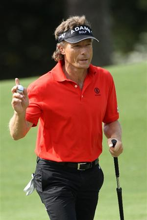 AUGUSTA, GA - APRIL 08:  Bernhard Langer of Germany celebrates on the eighth hole during the first round of the 2010 Masters Tournament at Augusta National Golf Club on April 8, 2010 in Augusta, Georgia.  (Photo by Andrew Redington/Getty Images)