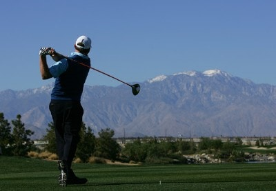 Justin Leonard makes a tee shot on the third hole during the final round of the 49th Bob Hope Chrysler Classic on January 20, 2008 at the Classic Club in Palm Desert, California. PGA TOUR - 2008 Bob Hope Chrysler Classic - Final RoundPhoto by Robert Laberge/Getty Images