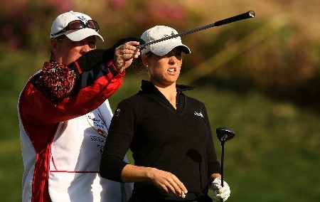 HUIXQUILUCAN, MEXICO - MARCH 15:  Liz Janangelo of the USA chats with her caddie Worth Blackwelder  on the fifth hole during the second round of the MasterCard Classic at Bosque Real Country Club on March 15, 2008 in Huixquilucan, Mexico.  (Photo by Scott Halleran/Getty Images)