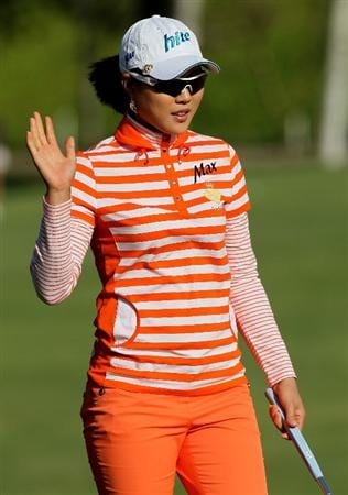 CARLSBAD, CA - MARCH 26:  Hee Kyung Seo of South Korea waves after making a birdie putt to take sole possession of the tournament lead on the seventh  hole during the second round of the Kia Classic Presented by J Golf at La Costa Resort and Spa on March 26, 2010 in Carlsbad, California.  (Photo by Stephen Dunn/Getty Images)