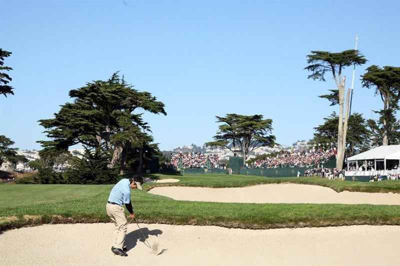 SAN FRANCISCO - OCTOBER 09:  Ryo Ishikawa of Japan and the International Team hits his second shot at the 15th hole during the Day Two Fourball Matches in The Presidents Cup at Harding Park Golf Course on October 9, 2009 in San Francisco, California  (Photo by David Cannon/Getty Images)
