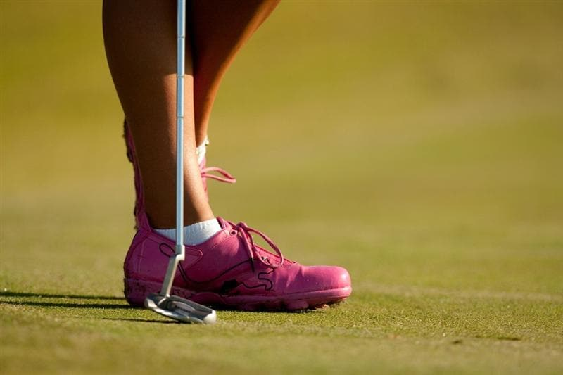 PRATTVILLE, AL - OCTOBER 8: Alexis Thompson wears a pair of pink golf shoes to commemorate Breast Cancer Awareness Month during the second round of the Navistar LPGA Classic at the Senator Course at the Robert Trent Jones Golf Trail on October 8, 2010 in Prattville, Alabama. (Photo by Darren Carroll/Getty Images)