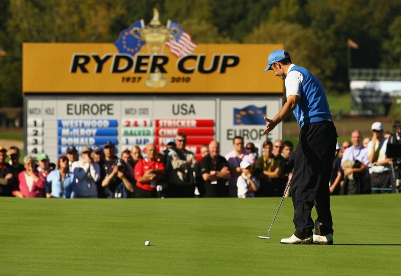 NEWPORT, WALES - OCTOBER 04:  Ross Fisher of Europe misses a putt on the 16th green in the singles matches during the 2010 Ryder Cup at the Celtic Manor Resort on October 4, 2010 in Newport, Wales.  (Photo by Richard Heathcote/Getty Images)