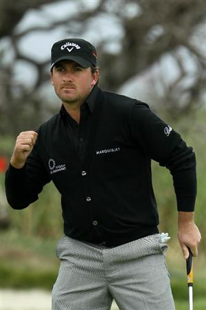PEBBLE BEACH, CA - JUNE 18:  Graeme McDowell of Northern Ireland celebrates a birdie putt on the fourth green during the second round of the 110th U.S. Open at Pebble Beach Golf Links on June 18, 2010 in Pebble Beach, California.  (Photo by Jeff Gross/Getty Images)