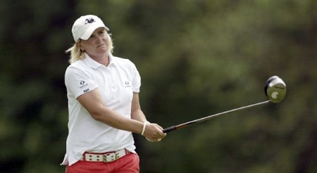 Becky Morgan watches her drive on 17 during the third round of the 2005 Wegman's Rochester LPGA at Locust Hill Country Club in  Pittsford, New York on June 18, 2005.Photo by Michael Cohen/WireImage.com