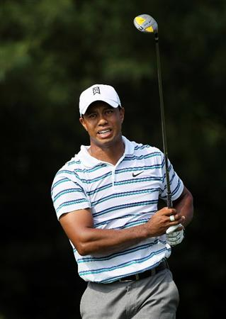 DUBLIN, OH - JUNE 04:  Tiger Woods hits his tee shot on the 17th hole during the second round of The Memorial Tournament presented by Morgan Stanley at Muirfield Village Golf Club on June 4, 2010 in Dublin, Ohio.  (Photo by Andy Lyons/Getty Images)