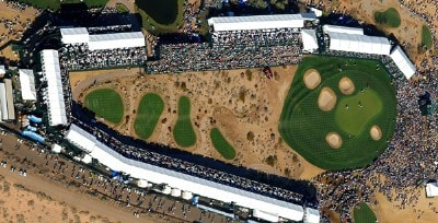 Areial view of the 6th green during the third round of the 2007 FBR Open held at the TPC Scottsdale, Scottsdale, Arizona on February 3, 2007. PGA TOUR - 2007 FBR Open - Third Round - February 3, 2007Photo by Marc Feldman/WireImage.com