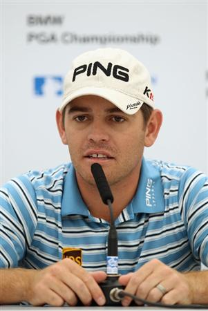 VIRGINIA WATER, ENGLAND - MAY 25:  Louis Oosthuizen of South Africa  attends a press conference during the Pro-Am round prior to the BMW PGA Championship at Wentworth Club on May 25, 2011 in Virginia Water, England.  (Photo by Warren Little/Getty Images)