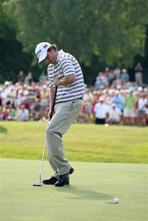 FT. WORTH, TX - MAY 31: Tim Clark of South Africa reacts after missing a birdie putt to win on the first playoff hole during the final round of the Crowne Plaza Invitational at Colonial Country Club on May 31, 2009 in Ft. Worth, Texas. (Photo by Hunter Martin/Getty Images)