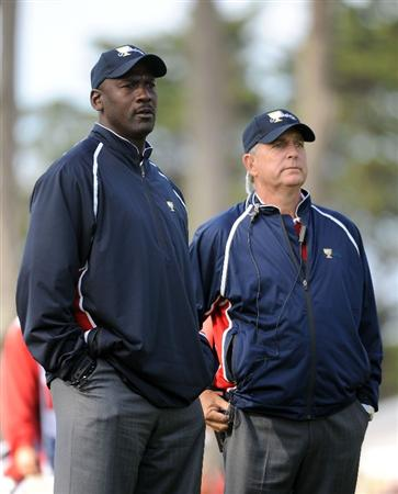 SAN FRANCISCO - OCTOBER 08:  Team Assistant Michael Jordan and Assistant Captain Jay Haas of the USA Team watch play on the 16th hole during the Day One Foursome Matches of The Presidents Cup at Harding Park Golf Course on October 8, 2009 in San Francisco, California.  (Photo by Harry How/Getty Images)