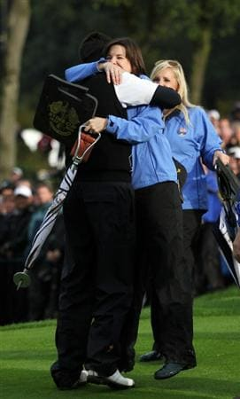 NEWPORT, WALES - OCTOBER 03:  Ross Fisher of Europe celebrates with his wife Jo after winning his match on the 17th green during the Fourball & Foursome Matches during the 2010 Ryder Cup at the Celtic Manor Resort on October 3, 2010 in Newport, Wales.  (Photo by Jamie Squire/Getty Images)