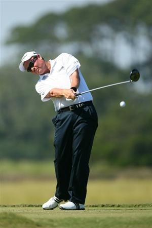 SEA ISLAND, GA - OCTOBER 10: Joe Durant hits his tee shot on the eighth hole during the final round of the McGladrey Classic at Sea Island's Seaside Course on October 10, 2010 in Sea Island, Georgia. (Photo by Hunter Martin/Getty Images)