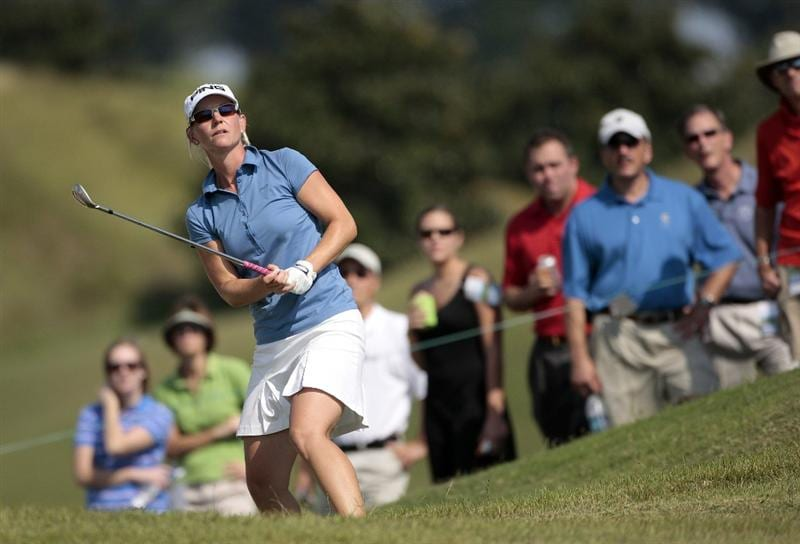 PRATTVILLE, AL - SEPTEMBER 28:   Louise Friberg of Sweden chips to the ninth hole during final round play in the Navistar LPGA Classic at the Robert Trent Jones Golf Trail at Capitol Hill on September 28, 2008 in Prattville, Alabama.  (Photo by Dave Martin/Getty Images)