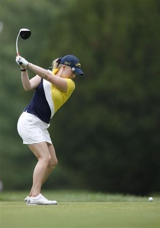 SYLVANIA, OH - JULY 03: Morgan Pressel hits her tee shot on the 16th hole during the second round of the Jamie Farr Owens Corning Classic at Highland Hills Golf Club on July 3, 2009 in Sylvania, Ohio. (Photo by Gregory Shamus/Getty Images)