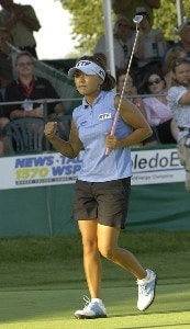 Mi Hyun Kim reacts to sinking her final putt to win the Jamie Farr Owens Corning Classic at Highland Meadows Golf Club in Sylvania, Ohio, on Sunday, July 16, 2006.Photo by Steve Levin/WireImage.com