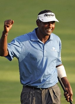 PARAMUS, NJ - AUGUST 24:  Vijay Singh of Fiji reacts to a birdie putt on the first playoff hole after the final round of The Barclays at Ridgewood Country Club on August 24, 2008 in Paramus, New Jersey.  (Photo by Sam Greenwood/Getty Images)