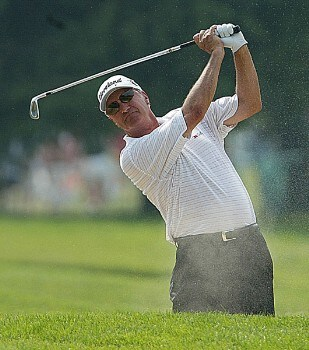 Don Pooley of Tucson, Arizona, drives to the 18 green during the overtime play of the 2005 Bank of America Championship at Nashawtuc Country Club in Concord, Massachusetts, Sunday, June 26, 2005.  Mark McNulty  of Orlando, Florida, won the match with a score of 12-under-par 204 after defeating Pooley and Tom Purtzer during in playoff competition.Photo by Jim Rogash/WireImage.com