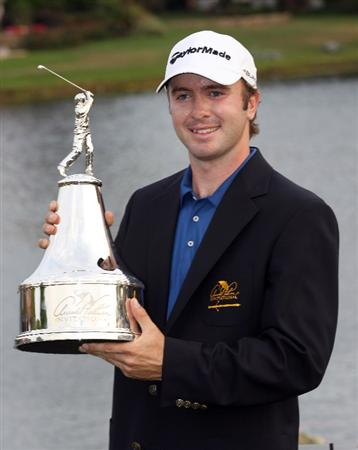 ORLANDO, FL - MARCH 27:  Martin Laird of Scotland poses with the trophy after winning the Arnold Palmer Invitational presented by MasterCard at the Bay Hill Club and Lodge on March 27, 2011 in Orlando, Florida.  (Photo by Sam Greenwood/Getty Images)