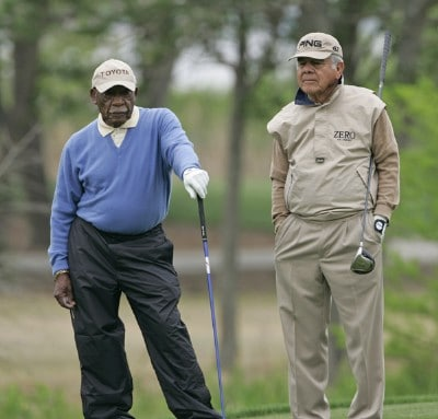 Charlie Sifford and Joe Jimenez compete in the Demaret competition during the Liberty Mutual Legends of Golf at Westin Savannah Harbor Golf Resort & Spa in Savannah, Georgia, on April 18, 2006.Photo by: Chris Condon/PGA TOUR