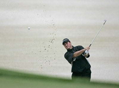 Todd Hamilton hits his bunker shot on the 14th hole during the first round of the 84 Lumber Classic at Nemacolin Woodlands Resort in Farmington, Pennsylvania on Thursday, September, 14th, 2006.Photo by Hunter Martin/WireImage.com