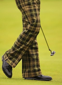 CARNOUSTIE, UNITED KINGDOM - JULY 19:  The pants of Ian Poulter as seen during the first round of The 136th Open Championship at the Carnoustie Golf Club on July 19, 2007 in Carnoustie, Scotland.  (Photo by Stuart Franklin/Getty Images)