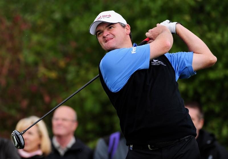 COLOGNE, GERMANY - SEPTEMBER 13:  Paul Lawrie of Scotland plays his tee shot on the 15th hole during the final round of The Mercedes-Benz Championship at The Gut Larchenhof Golf Club on September 13, 2009 in Cologne, Germany.  (Photo by Stuart Franklin/Getty Images)