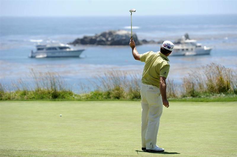 PEBBLE BEACH, CA - JUNE 17:  Graeme McDowell of Northern Ireland watches a putt on the fourth green during the first round of the 110th U.S. Open at Pebble Beach Golf Links on June 17, 2010 in Pebble Beach, California.  (Photo by Harry How/Getty Images)