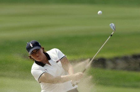 Meg Mallon of the United States plays from a bunker during the Friday afternoon four- ball  matches at the Solheim Cup at Crooked Stick Golf Club in Carmel, Indiana on September 9,2005.Photo by Michael Cohen/WireImage.com