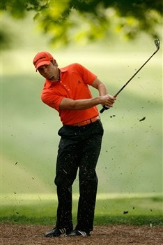 CHARLOTTE, NC - MAY 02:  Sergio Garcia of Spain hits a shot on the 4th hole during the second round of the Wachovia Championship at Quail Hollow Country Club on May 2, 2008 in Charlotte, North Carolina.  (Photo by Streeter Lecka/Getty Images)