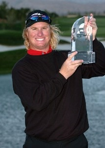 Charlie Huffman holds the winner's trophy after his playoff win over John Rollins in the final round of the 2007 Bob Hope Chrysler Classic at the Classic Club in Palm Desert, California on January 21, 2007. PGA TOUR - 2007 Bob Hope Chrysler Classic - Final RoundPhoto by Steve Grayson/WireImage.com
