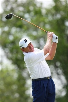 WEST DES MOINES, IA - MAY 31:  Nick Price tees off from the 3rd hole during the second round of the Principal Charity Classic on May 31, 2008 at Glen Oaks Country Club in West Des Moines, Iowa. (Photo by G. Newman Lowrance/Getty Images)