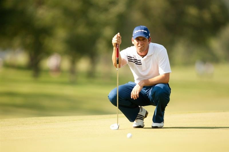 IRVING, TX - MAY 27: Sergio Garcia of Spain lines up a putt during the second round of the HP Byron Nelson Championship at TPC Four Seasons at Las Colinas on May 27, 2011 in Irving, Texas. (Photo by Darren Carroll/Getty Images)
