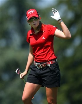 EVIAN, FRANCE - JULY 26:  Paula Creamer of USA waves to the crowd after her second shot on the fifth hole during the third round of the Evian Masters at the Evian Masters Golf Club on July 26, 2008 in Evian, France.  (Photo by Andrew Redington/Getty Images)