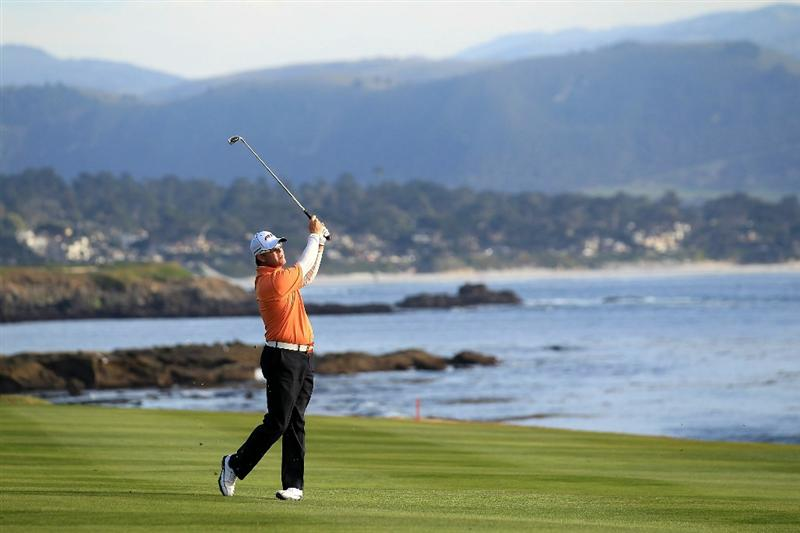 PEBBLE BEACH, CA - FEBRUARY 13:  D.A. Points hits on the 18th fairway at the AT&T Pebble Beach National Pro-Am- Final Round at the Pebble Beach Golf Links on February 13, 2011 in Pebble Beach, California.  (Photo by Jed Jacobsohn/Getty Images)